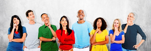 Diverse People Thinking Looking Up Concept