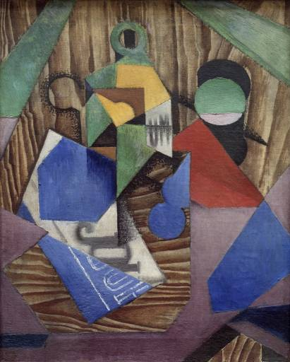 Bottle of Rum and Newspaper 1913-4 by Juan Gris 1887-1927